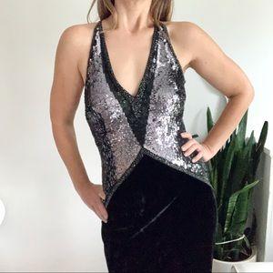 Escada Black Velvet & Silver Sequin Evening Gown